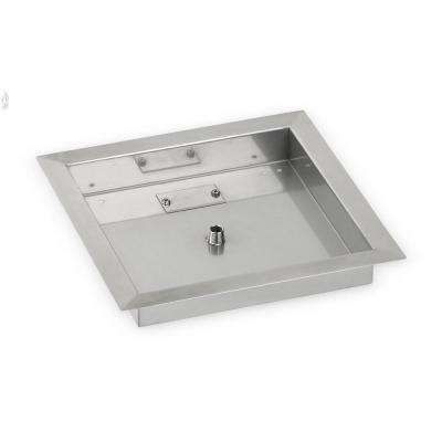 12 in. sq. Stainless Steel Drop-In Fire Pit Pan (1/2 in. Nipple)