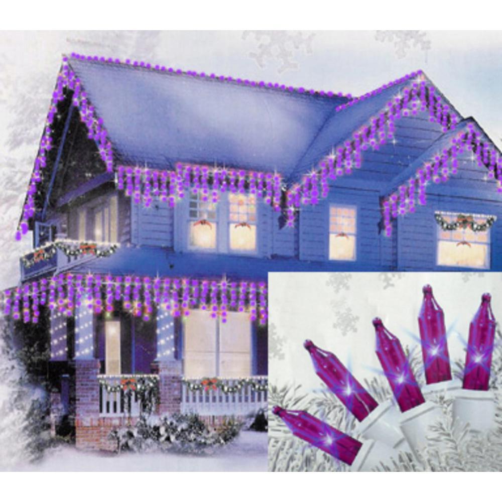 Set of 100 Purple Mini Icicle Christmas Lights - White Wire