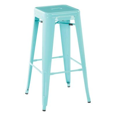 30 in. Mint Green Finish Steel Backless Bar Stool (Set of 4)