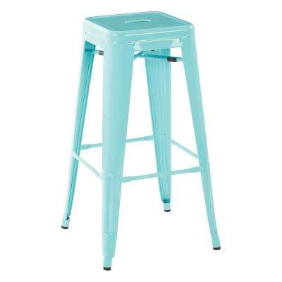 30 in. Mint Green Finish Steel Backless Barstool (4-Pack)