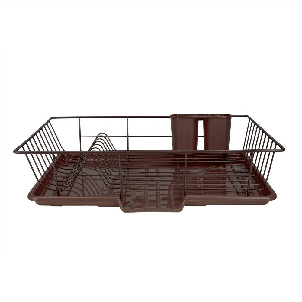 Home Basics 3-Piece Bronze Dish Drainer Set