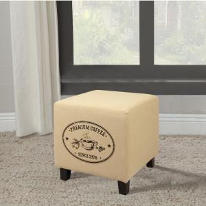 Vintage Recycle Beige A Coffee Design Ottoman by