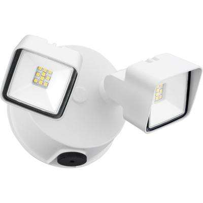White Adjustable Twin Head Integrated LED Square Wall Mount Flood Light with Dusk to Dawn Photocell
