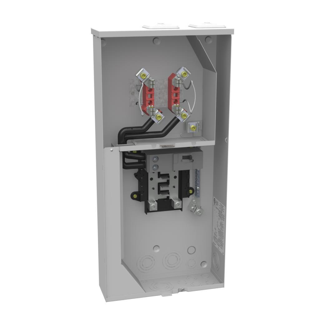 200 Amp 4 Terminal Ringless Main Breaker 8-Space 16-Circuit Overhead Underground Combination Meter Socket Load Center