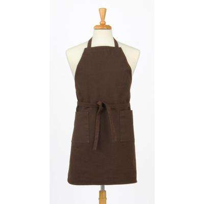 Two Pocket Cotton Canvas Chef's Apron, Coffee Brown