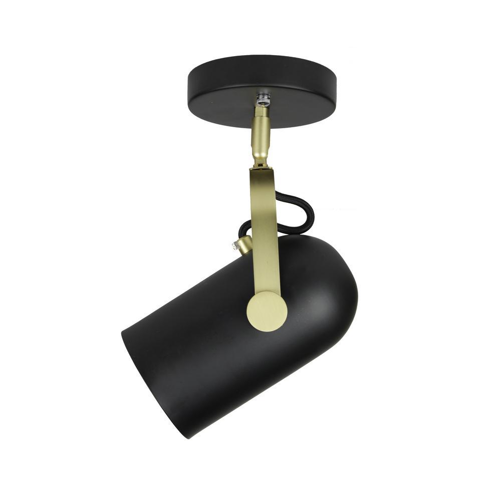 Industrial 1-Light Matte Black Semi-Flush Mount Directional