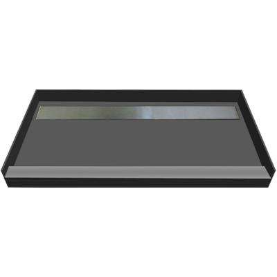 48 in. x 72 in. Single Threshold Shower Base with Back Drain in Gray and Tileable Trench Grate
