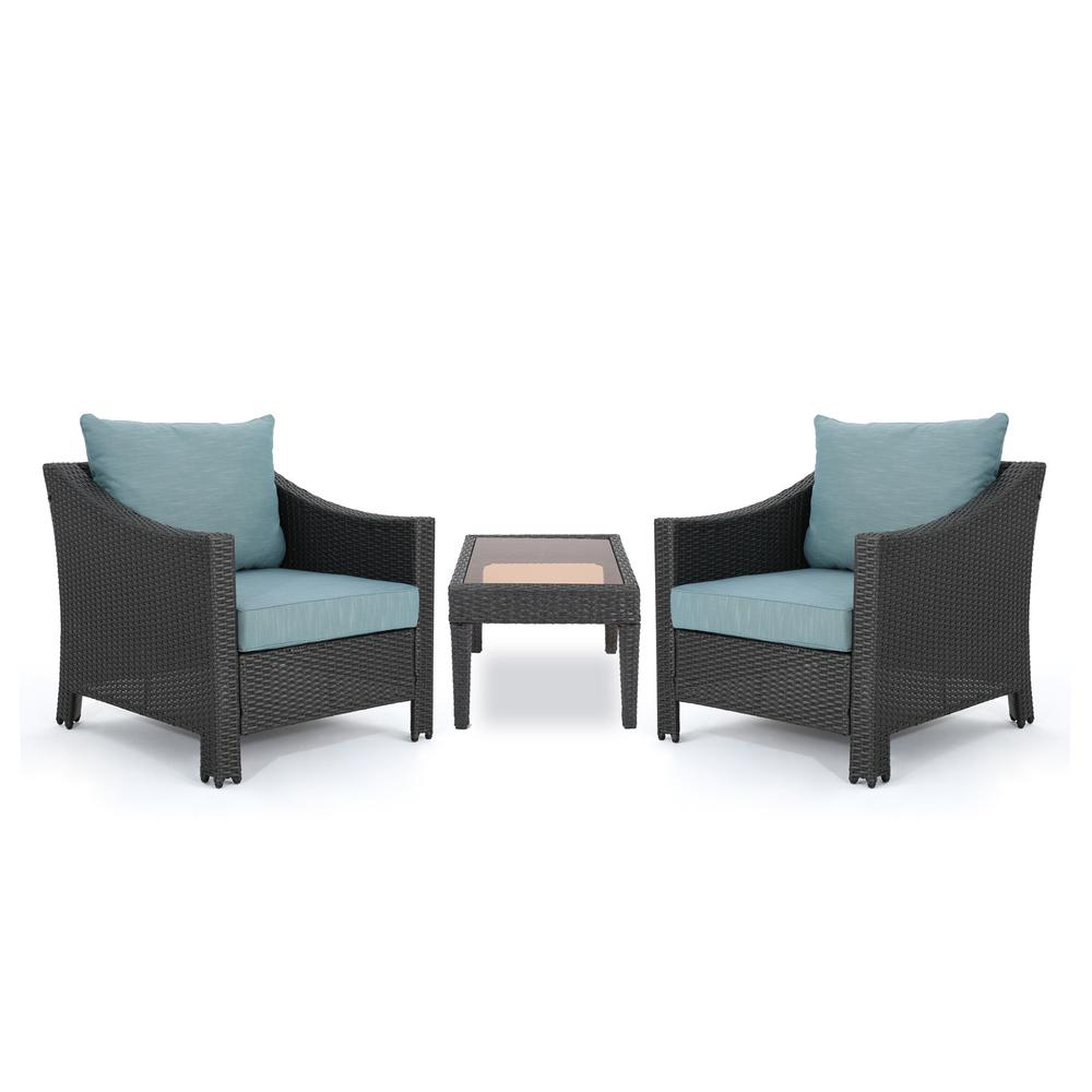 Noble House Antibes Gray 3-Piece Wicker Patio Conversation Set with Teal Cushions