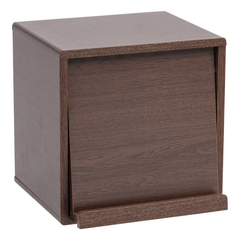 Kuda Series Brown Oak Wood Storage Cube with Pocket Door