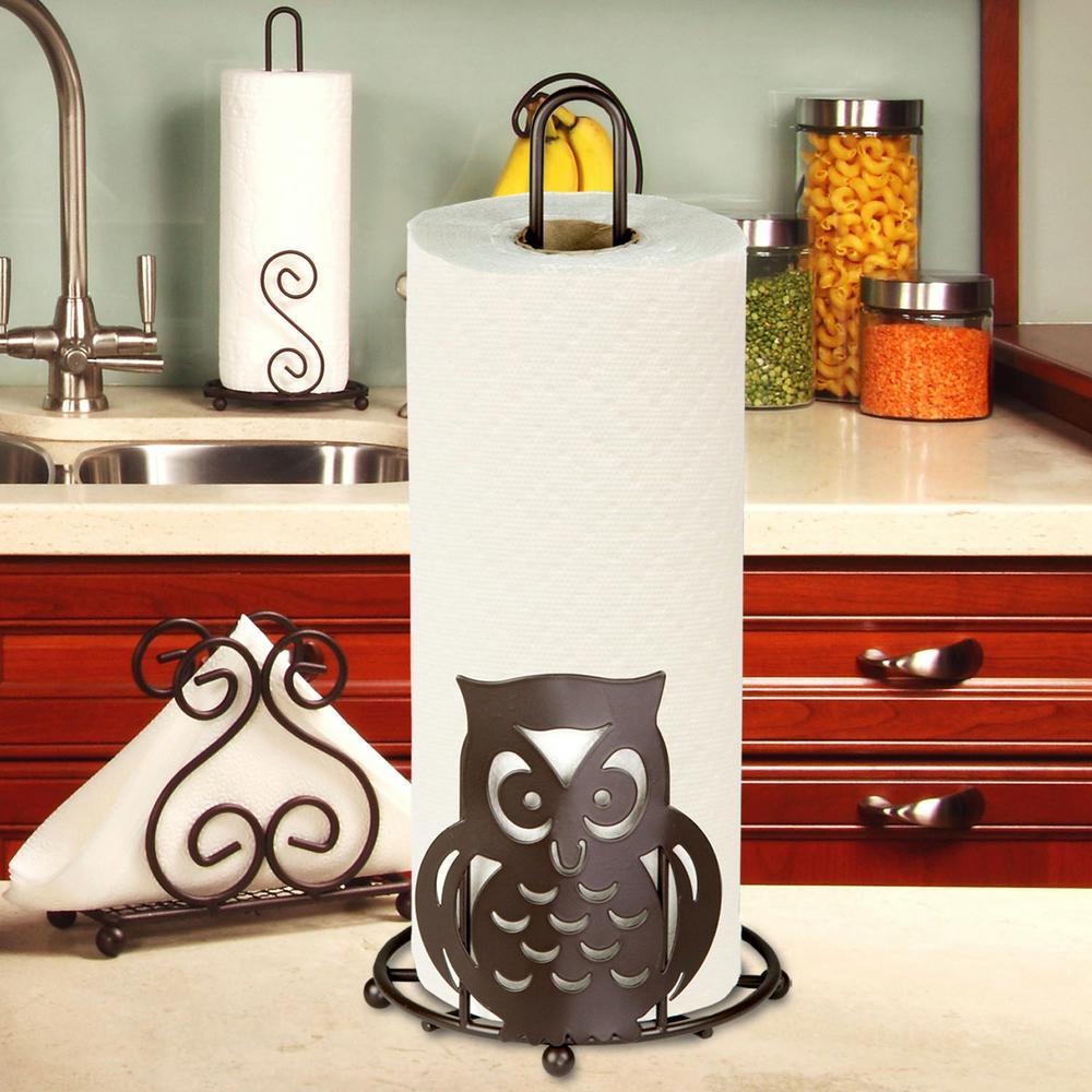 Bronze Paper Towel Holder Owl