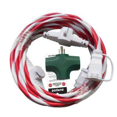 25 ft. Indoor + Outdoor Extension Cord with Cord Connect Adapter Candy Cane