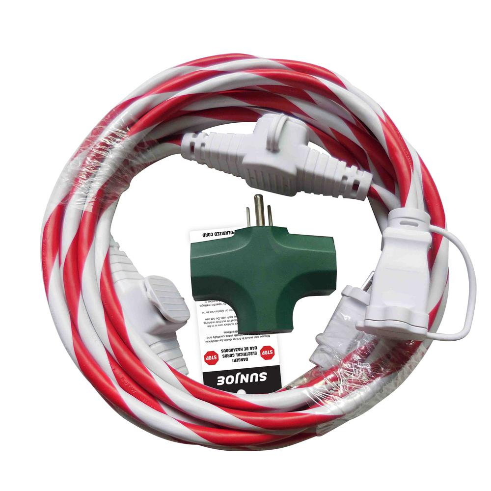 Sun Joe 25 Ft Indoor Outdoor Extension Cord With Connect Discuss About Home Wiring Hazards And Electrical Dangers In Your Adapter Candy Cane
