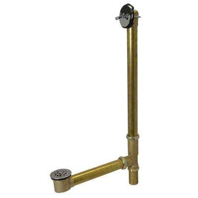 Trip Lever 1-1/2 in. 20-Gauge Brass Pipe Whirlpool Bath Waste and Overflow Drain in Chrome