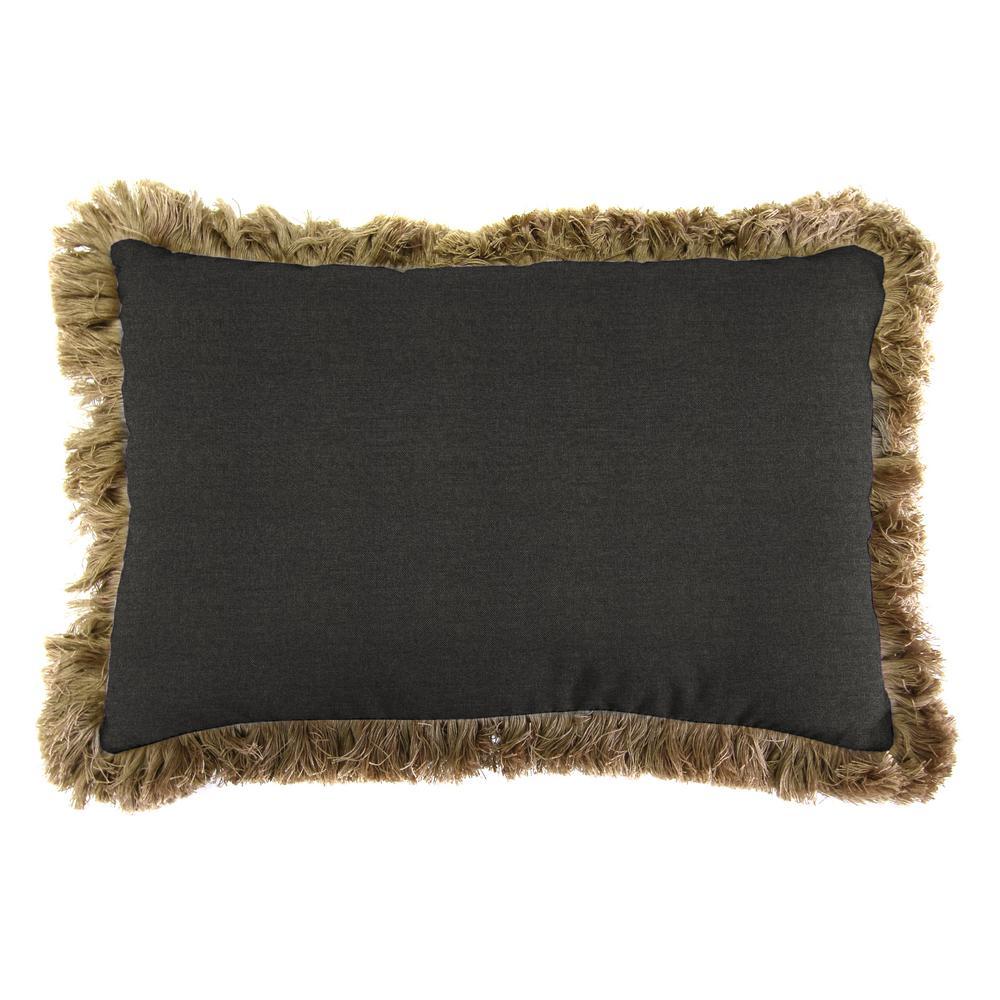 Sunbrella 9 in. x 22 in. Spectrum Carbon Lumbar Outdoor Pillow with Heather Beige Fringe