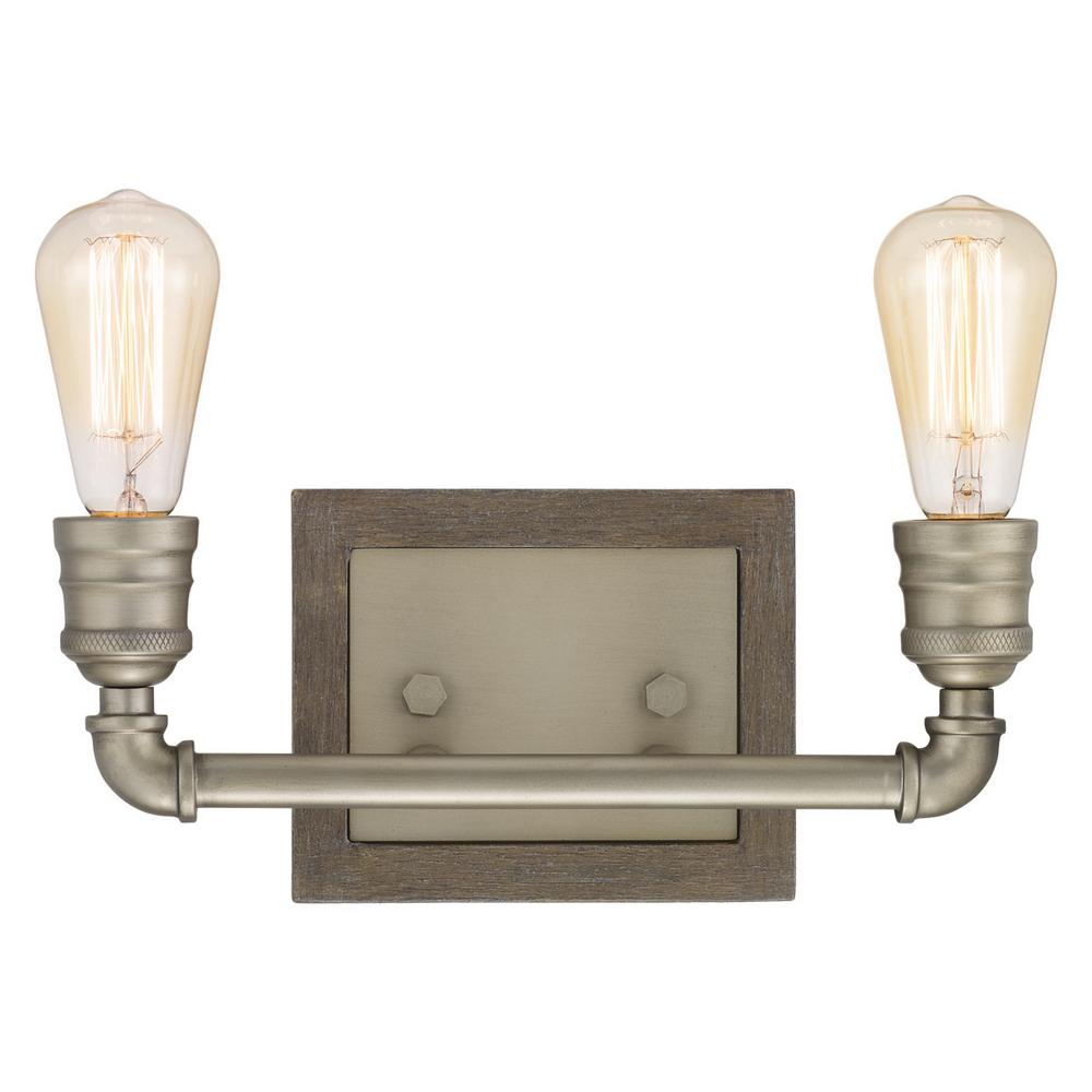 HomeDecoratorsCollection Home Decorators Collection Palermo Grove Collection 2-light Antique Nickel Bath Light with Painted Weathered Gray Wood Accents
