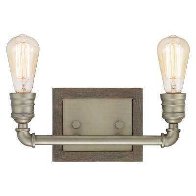 Palermo Grove Collection 2-light Antique Nickel Bath Light with Painted Weathered Gray Wood Accents