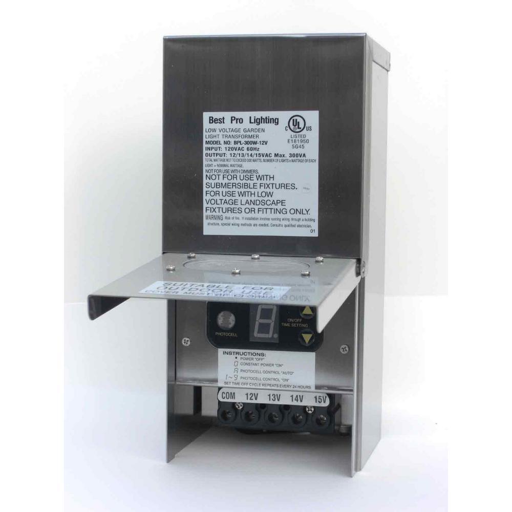 Multi-Tap 300-Watt 12-15-Volt Stainless Steel Landscape Lighting Transformer