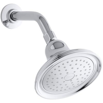Devonshire 1-Spray 5.9 in. Single Wall Mount Fixed Shower Head in Polished Chrome