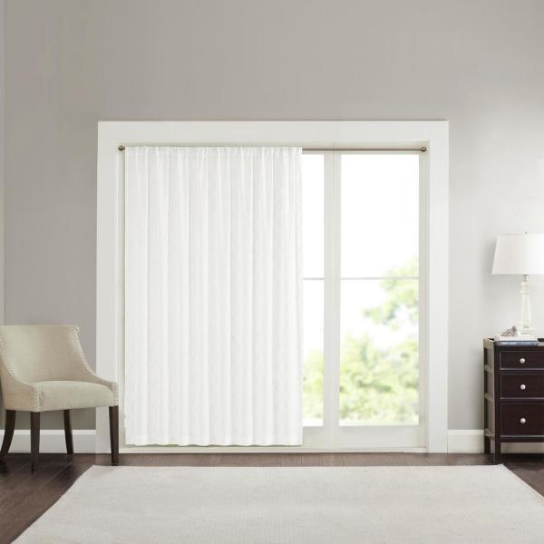 Iris White 100 in. x 84 in. Diamond Sheer Extra Wide Window Curtain
