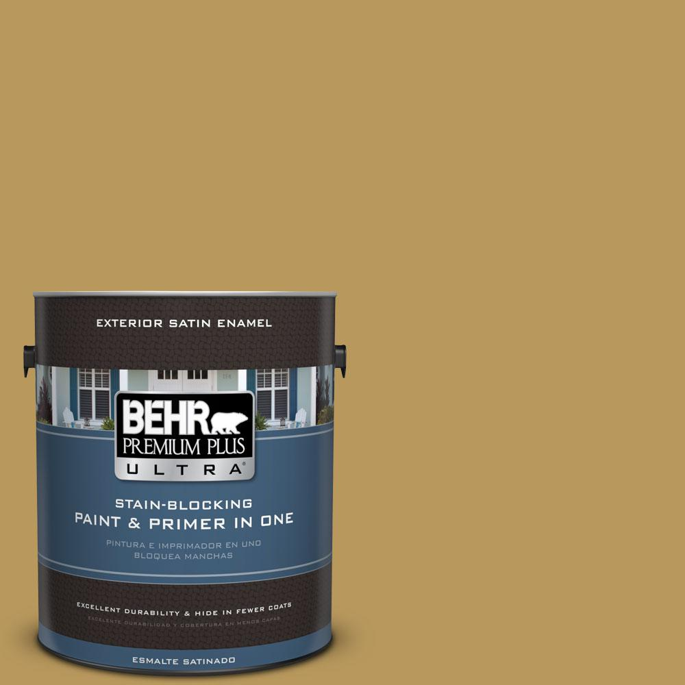 BEHR Premium Plus Ultra 1-gal. #330F-5 Golden Bear Satin Enamel Exterior Paint