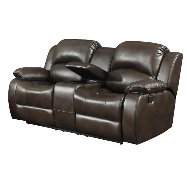 B751 Transitional Reclining Sectional With Storage Console: AC Pacific Samara Modern Dark Brown Upholstered
