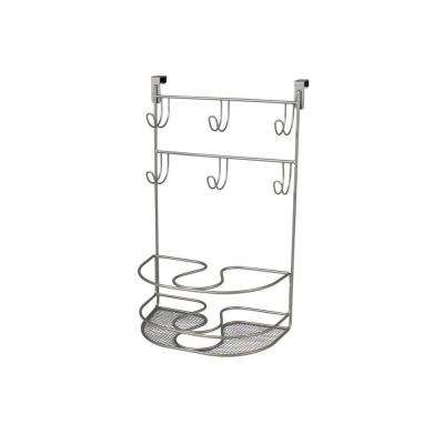 myBella 9.875 in. W Over the Cabinet Deluxe Tiered Styling Station in Satin Nickel