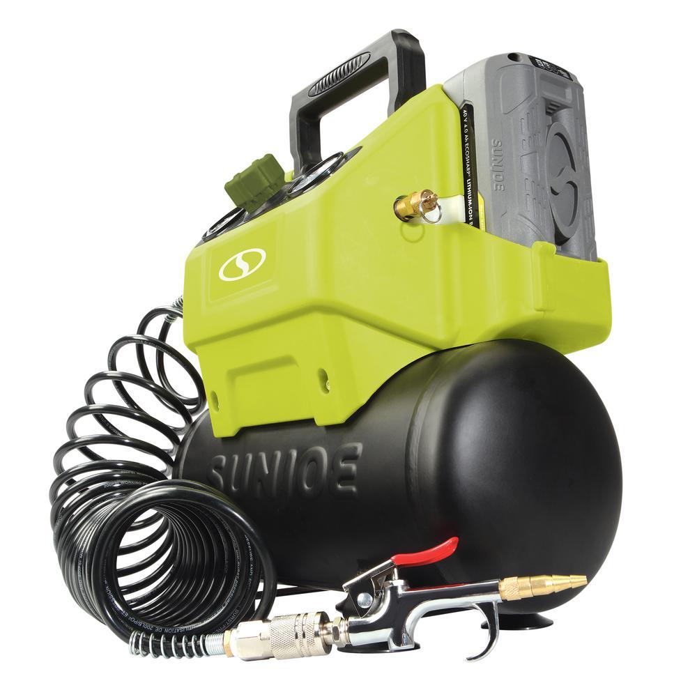 1.6 Gal. 40-Volt 4.0 mAh Cordless Hotdog Air Compressor Portable Inflator