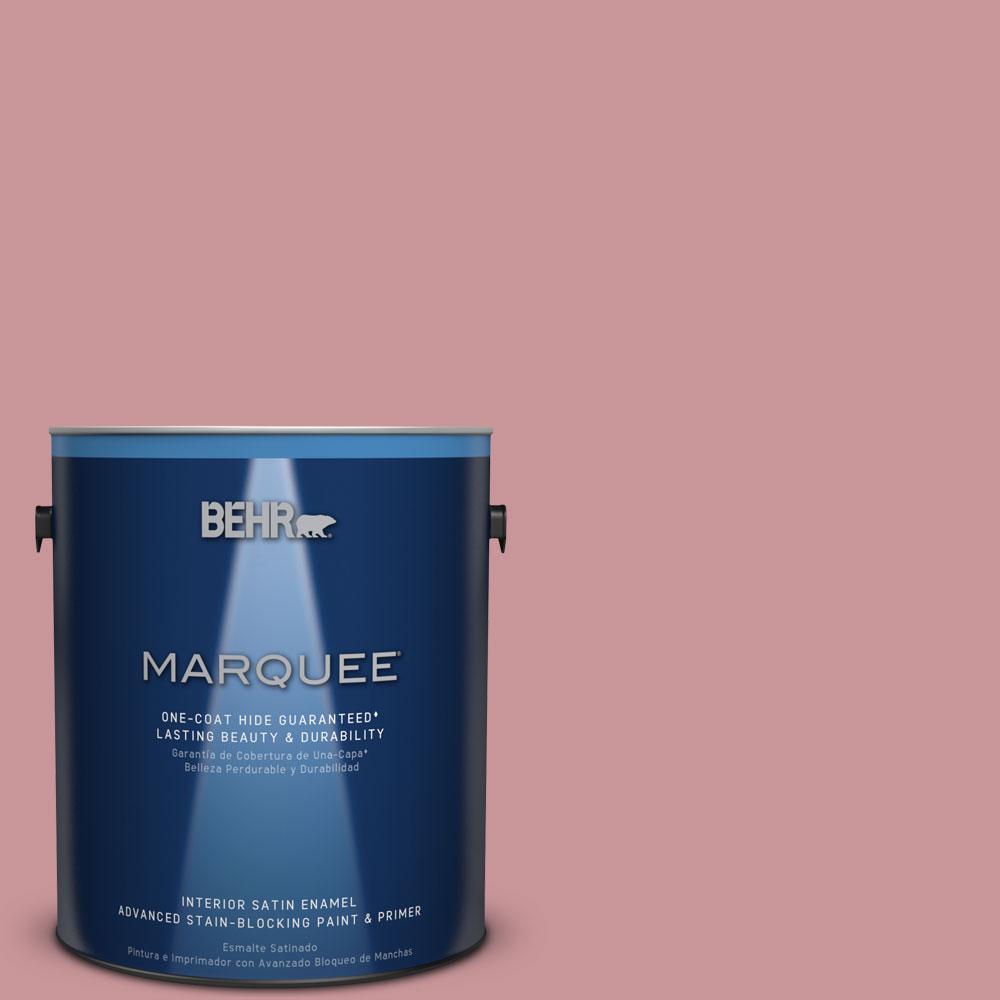 1 gal. #S140-4 Minstrel Rose One-Coat Hide Satin Enamel Interior Paint