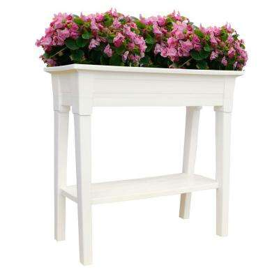 36 in. x 15 in. White Deluxe Resin Garden Planter