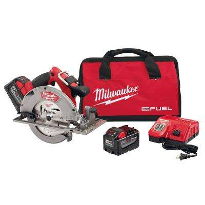 M18 FUEL 18-Volt Lithium-Ion Brushless Cordless 7-1/4 in. Circular Saw Kit w/ (2) 9.0Ah Batteries, Charger, Tool Bag