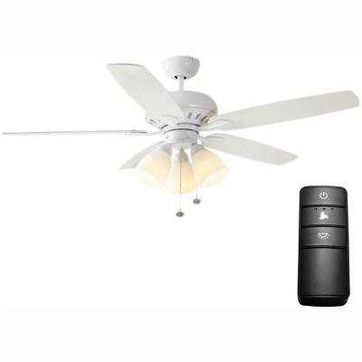 Rockport 52 in. LED Matte White Ceiling Fan with Light Kit and Remote Control