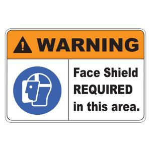 Rectangular Plastic Warning Face Shield Required Safety Sign by