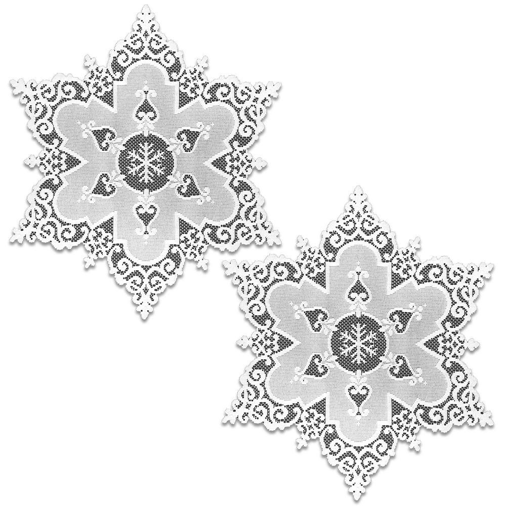 Snowflake 18 in. White Round Doily (Set of 2)