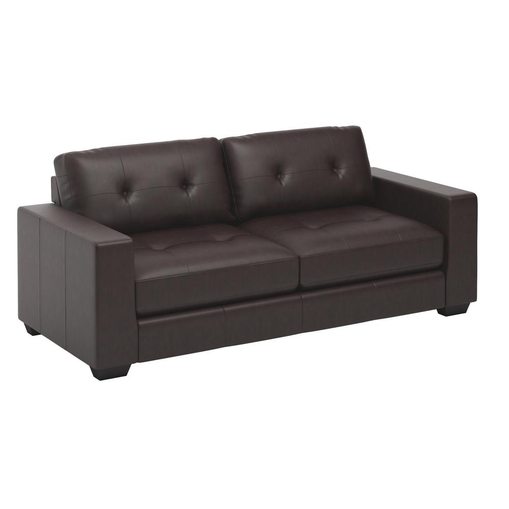 Club Tufted Chocolate Brown Bonded Leather Sofa