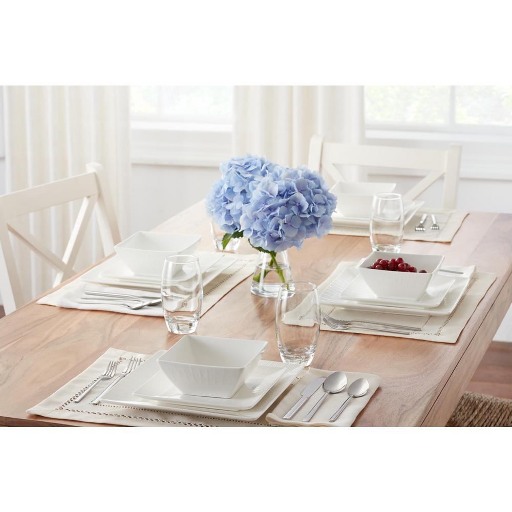 Wellton 16-Piece Square White Porcelain Dinnerware Set (Service for 4)