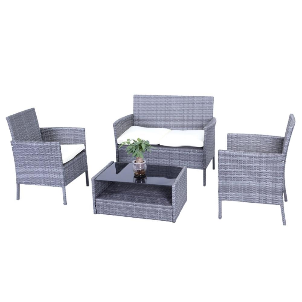Hamptons 4 Piece Rattan Patio Furniture Set With Cream Cushions