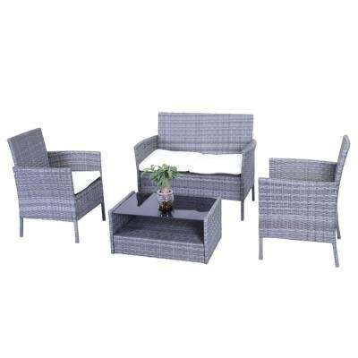 Hamptons 4-Piece Rattan Patio Furniture Set with Cream Cushions