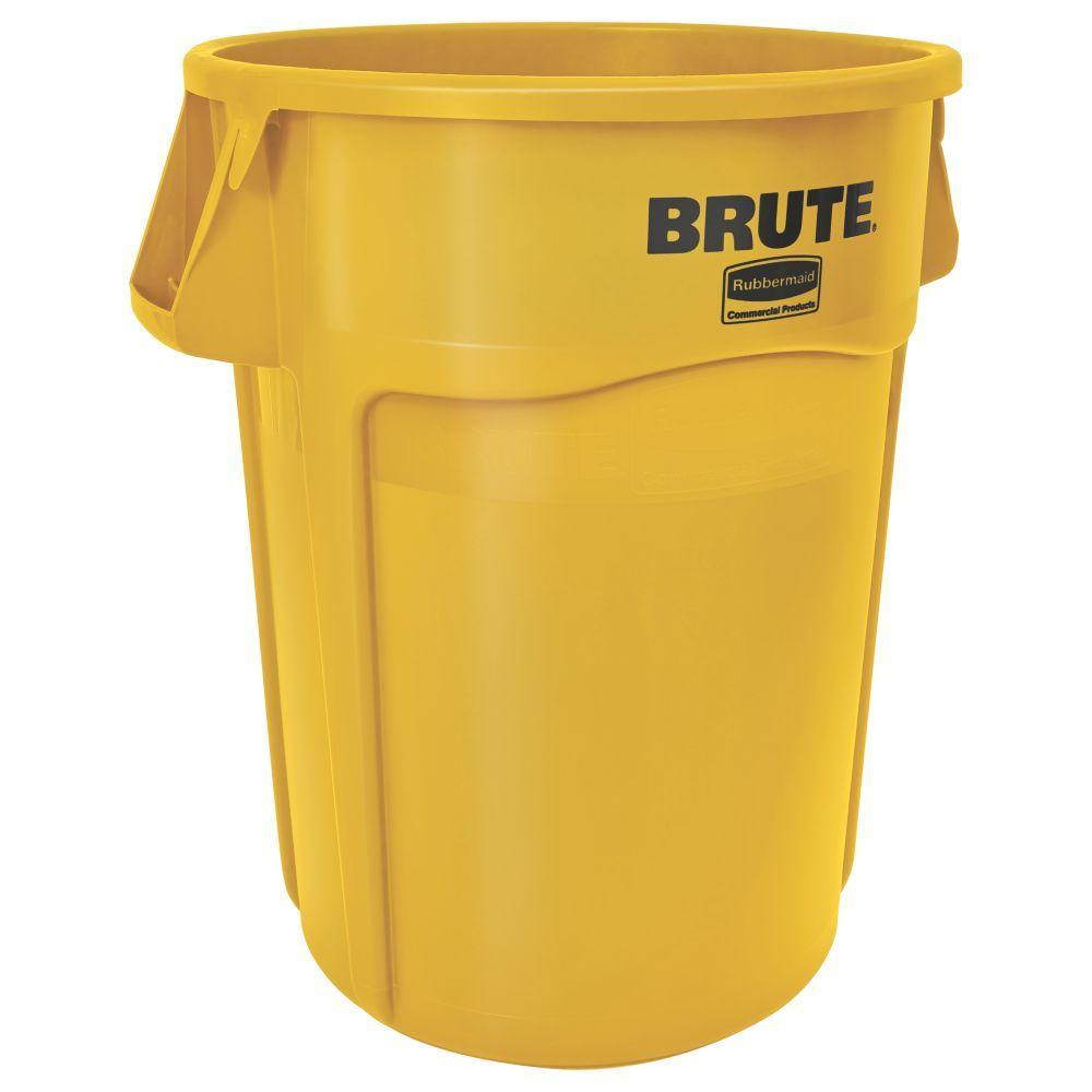 rubbermaid commercial products brute 32 gal yellow round vented trash can - Commercial Garbage Cans