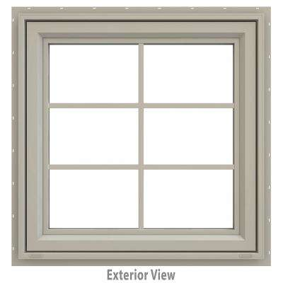 29.5 in. x 35.5 in. V-4500 Series Desert Sand Vinyl Awning Window with Colonial Grids/Grilles