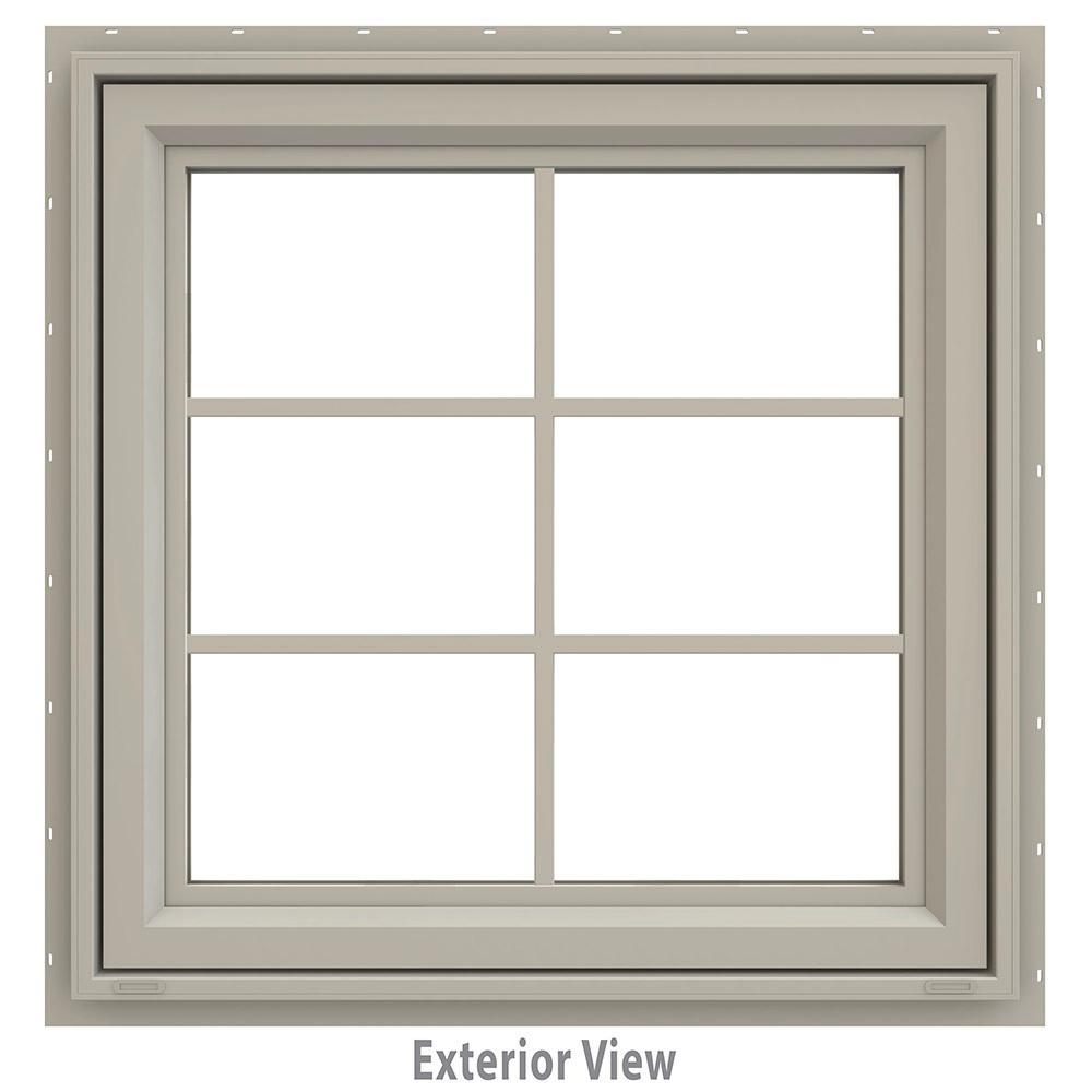 JELD-WEN 29.5 in. x 29.5 in. V-4500 Series Awning Vinyl Window with Grids - Tan