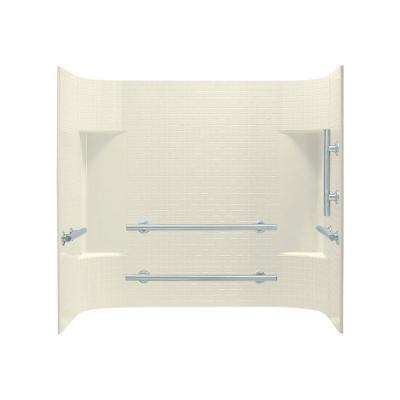 Accord 30 in. x 60 in. x 56.25 in. 3-Piece Direct-to-Stud Alcove Tub Surround in Biscuit