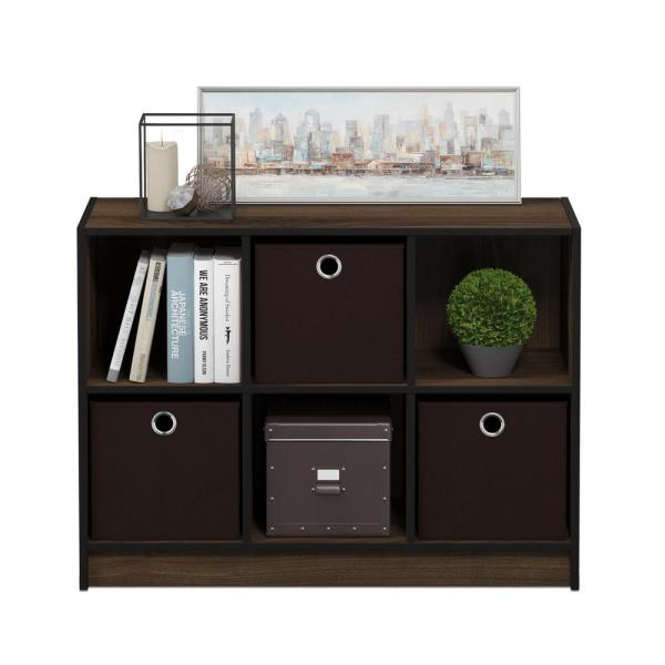 23.6 in. Columbia Walnut Wood 3-shelf Cube Bookcase with Closed Storage