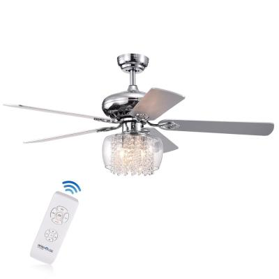 Ennie 52 in. Chrome Indoor Remote Controlled Ceiling Fan with Light Kit