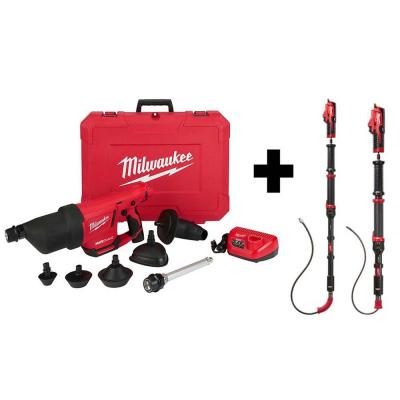 M12 12-Volt Lithium-Ion Cordless Drain Cleaning Airsnake Air Gun Kit W/ M12 Trap Snake 6ft. Toilet & 4ft. Urinal Auger
