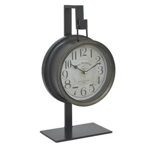 THREE HANDS 9 inch x 5 inch Metal Table Clock in Black by THREE HANDS