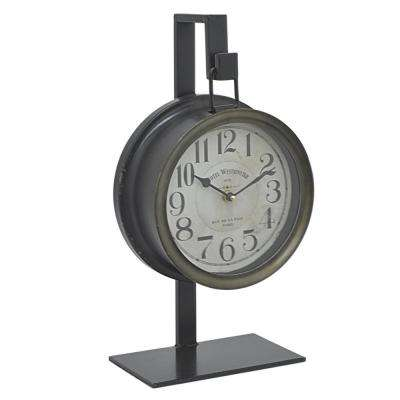 9 in. x 5 in. Metal Table Clock in Black