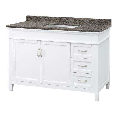 Ashburn 49 in. W x 22 in. D Vanity in White with Granite Vanity Top in Sircolo with White Sink
