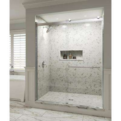 Rotolo 60 in. x 70 in. Semi-Frameless Sliding Shower Door in Chrome with Handle