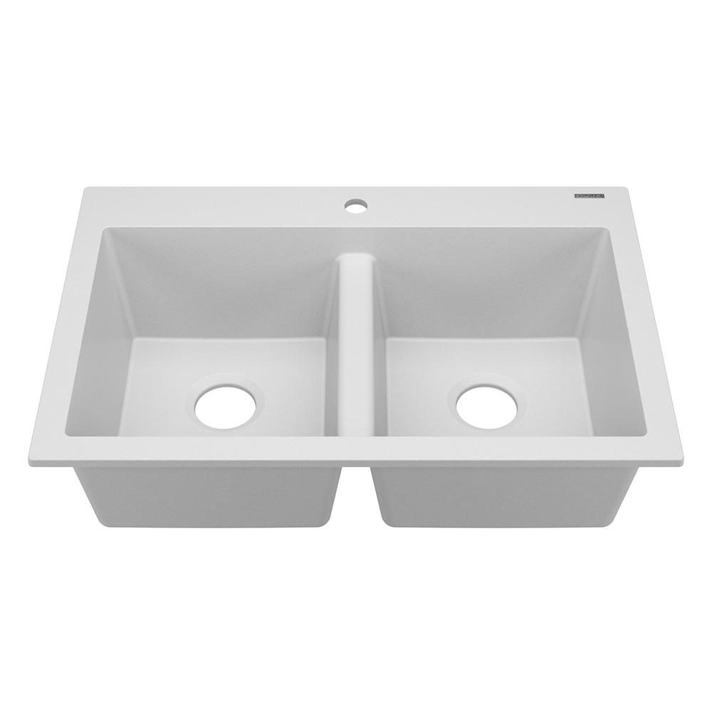 Whitney Drop In Granite Composite 33 1 Hole 50 Double Bowl Kitchen Sink Canvas White