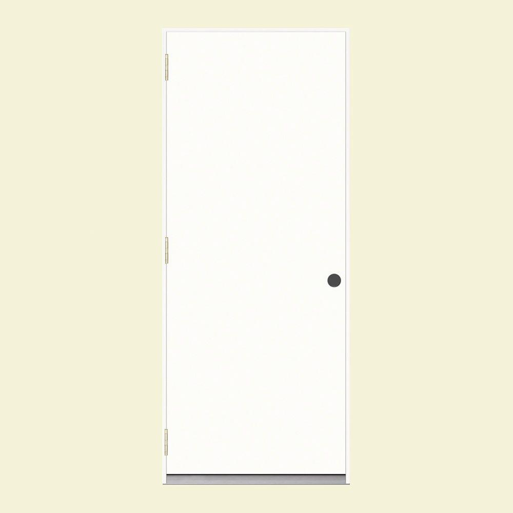 36 in. x 80 in. Flush Primed Steel Prehung Right-Hand Outswing